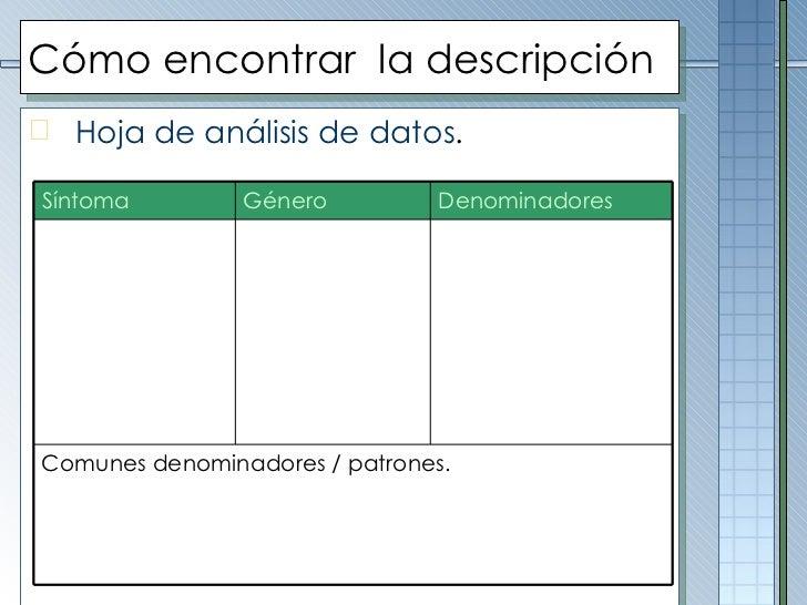 Cómo encontrar  la descripción <ul><li>Hoja de análisis de datos . </li></ul>Síntoma Género Denominadores Comunes denomina...