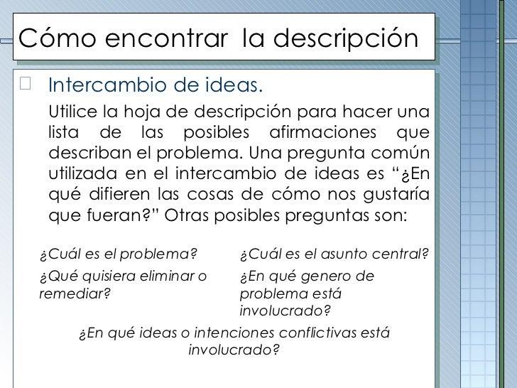 Cómo encontrar  la descripción <ul><li>Intercambio de ideas. </li></ul><ul><li>Utilice la hoja de descripción para hacer u...