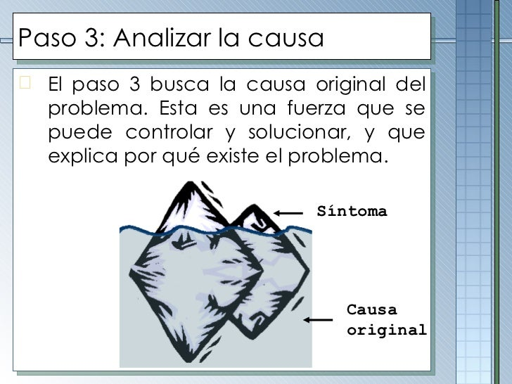 Paso 3: Analizar la causa <ul><li>El paso 3 busca la causa original del problema. Esta es una fuerza que se puede controla...