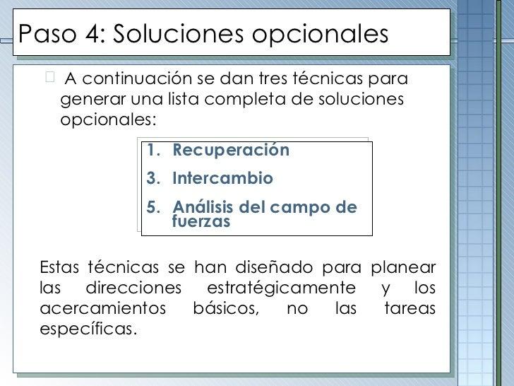 Paso  4 :  Soluciones opcionales <ul><ul><li>A continuación se dan tres técnicas para generar una lista completa de soluci...