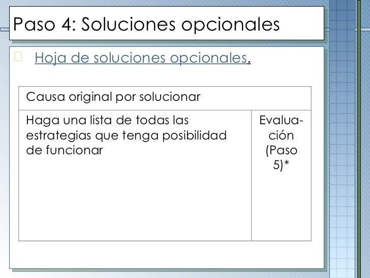 Paso  4 :  Soluciones opcionales <ul><li>Hoja de soluciones opcionales . </li></ul>Causa original por solucionar    Haga...