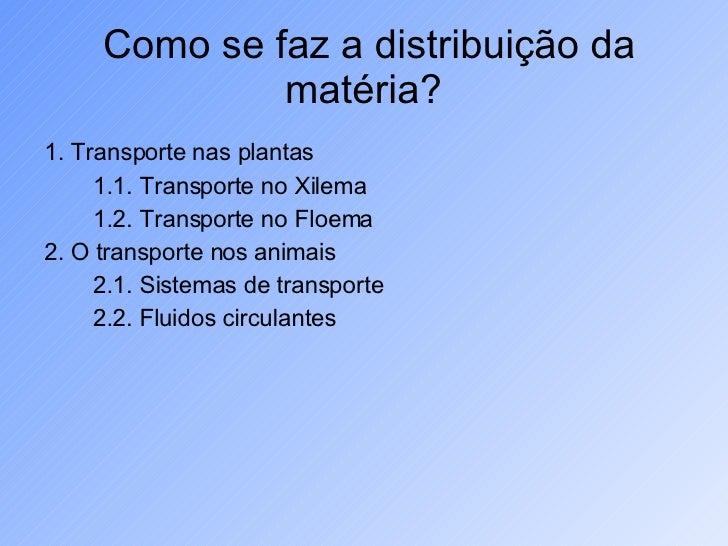 Como se faz a distribuição da matéria?  <ul><li>1. Transporte nas plantas </li></ul><ul><li>1.1. Transporte no Xilema </li...