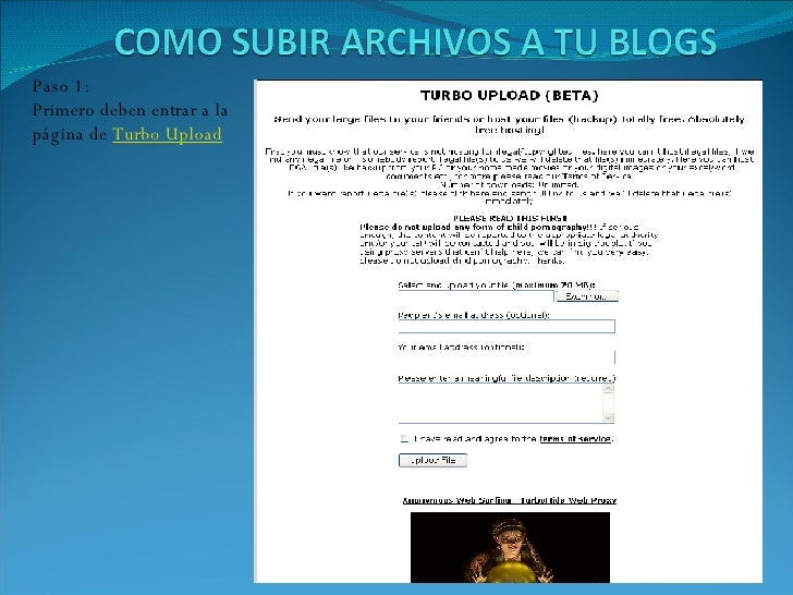 Paso 1: Primero deben entrar a la página de  Turbo Upload