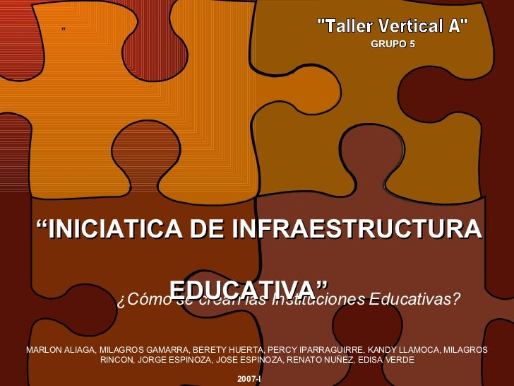 """"""" """"Taller Vertical A"""" ¿Cómo se crean las Instituciones Educativas? """" """" INICIATICA DE INFRAESTRUCTURA   EDUCATIVA..."""