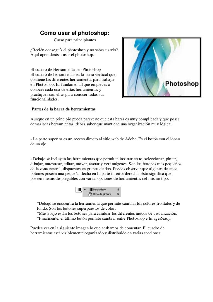 Como usar el photoshop:              Curso para principiantes  ¿Recién conseguís el photoshop y no sabes usarlo? Aquí apre...