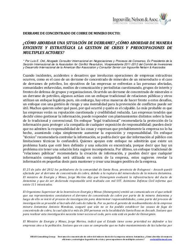ORASI Consulting Group: Derrame de concentrado de cobre del minero ducto de la empresa minera Antamina: ¿Cómo abordar de m...