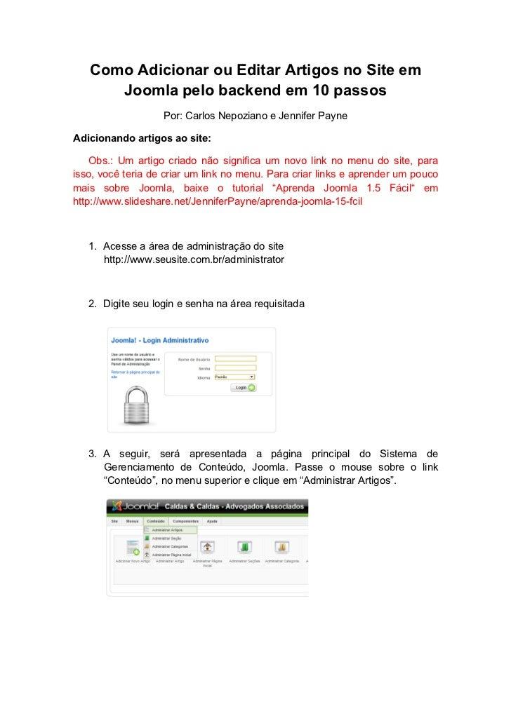 Como Adicionar ou Editar Artigos no Site em      Joomla pelo backend em 10 passos                   Por: Carlos Nepoziano ...
