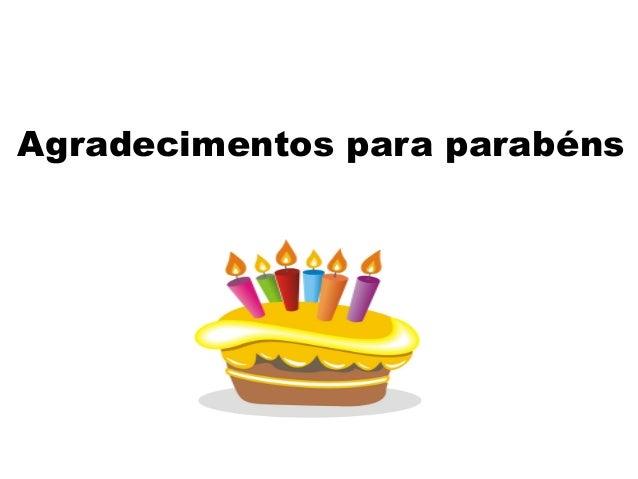 Agradecimentos para parabéns