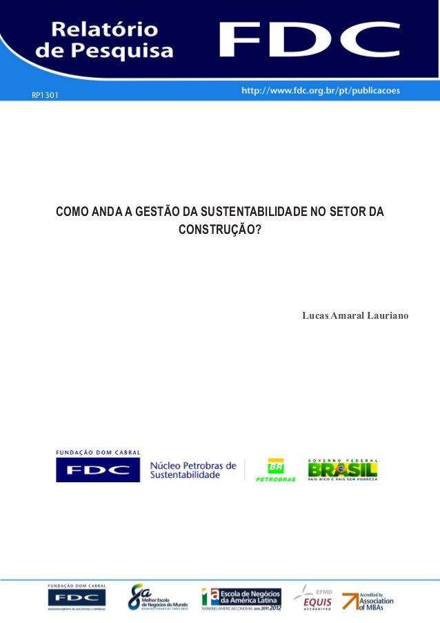 RP1301  Gestão Estratégica do Suprimento e o Impacto no Desempenho das Empresas Brasileiras  COMO ANDA A GESTÃO DA SUSTENT...