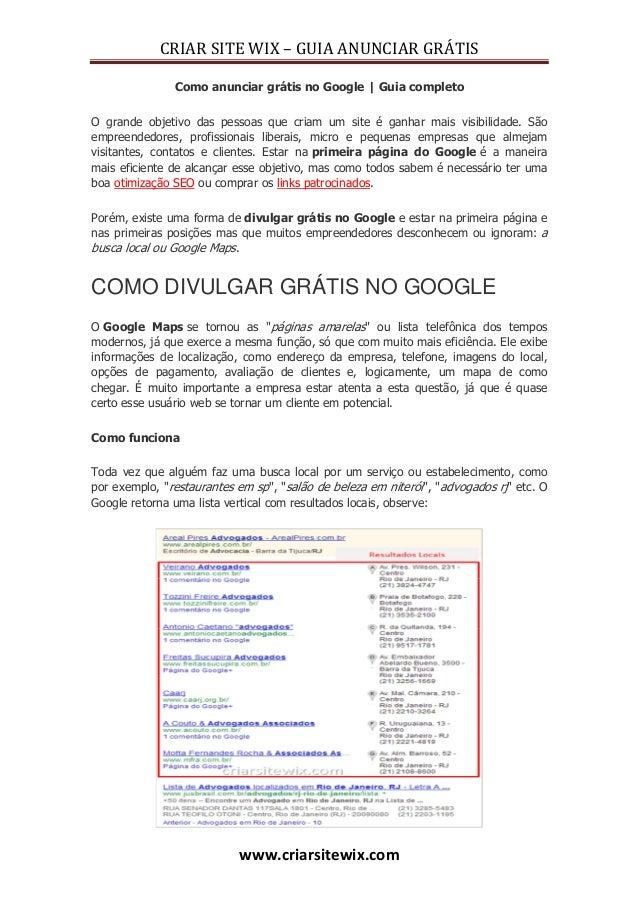 CRIAR SITE WIX – GUIA ANUNCIAR GRÁTISwww.criarsitewix.comComo anunciar grátis no Google | Guia completoO grande objetivo d...