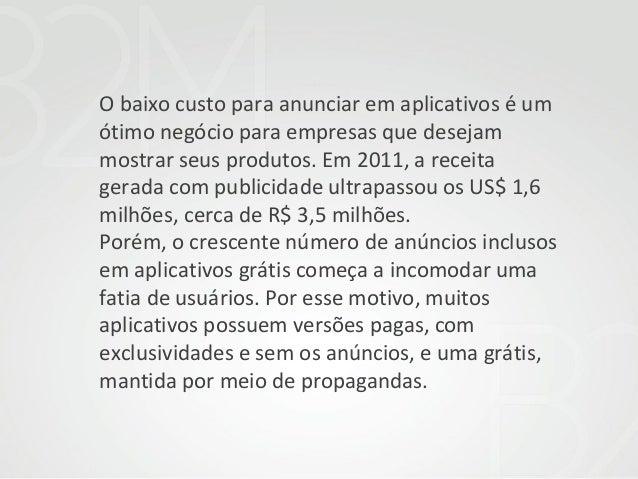 O baixo custo para anunciar em aplicativos é um ótimo negócio para empresas que desejam mostrar seus produtos. Em 2011, a ...