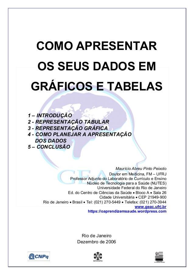 COMO APRESENTAR OS SEUS DADOS EM GRÁFICOS E TABELAS 1 – INTRODUÇÃO 2 - REPRESENTAÇÃO TABULAR 3 - REPRESENTAÇÃO GRÁFICA 4 -...