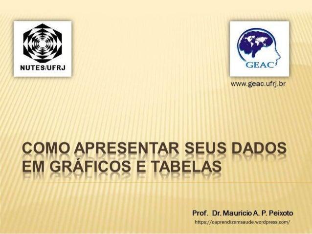CEAC  wvsí/ Fviáevavcíufdbr  COMO APRESENTAR seus DADOS EM GRAFICQS E TABELAS  Prof.  Mauricio A.  P.  Peixoto