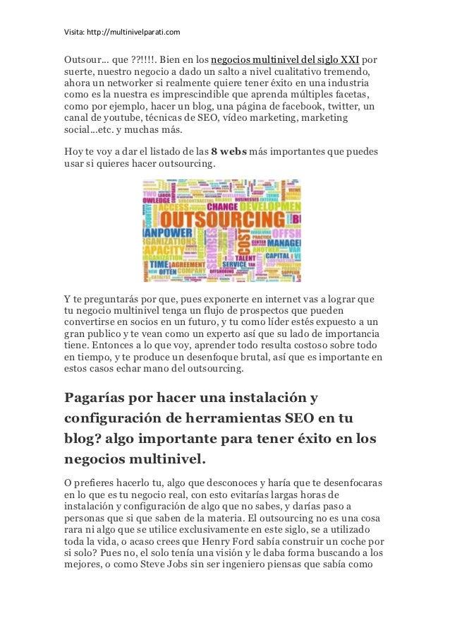 Negocios multinivel | Como aprovecharse del outsourcing Slide 2