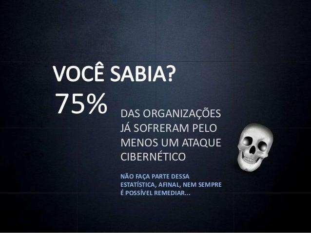 75% DAS ORGANIZAÇÕES JÁ SOFRERAM PELO MENOS UM ATAQUE CIBERNÉTICO NÃO FAÇA PARTE DESSA ESTATÍSTICA, AFINAL, NEM SEMPRE É P...