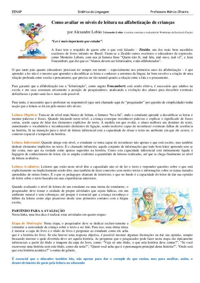 Como Avaliar Os Níveis De Leitura Na Alfabetização De Crianças