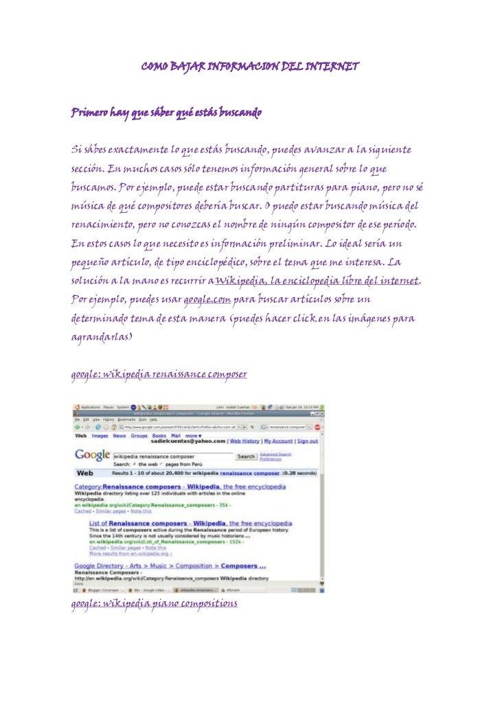 Como bajar informacion del internet