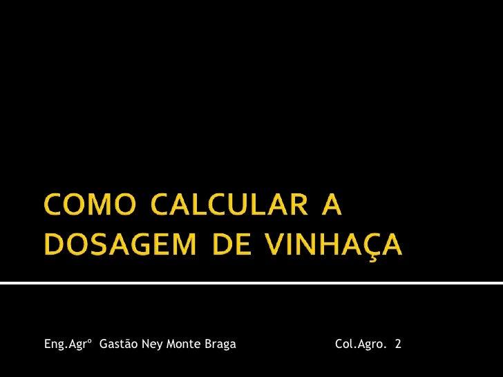 COMO  CALCULAR  A DOSAGEM  DE  VINHAÇA<br />Eng.Agrº  Gastão Ney Monte Braga <br />Col.Agro.  2<br />