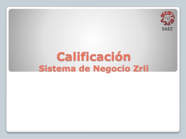 Calificación Sistema de Negocio Zrii