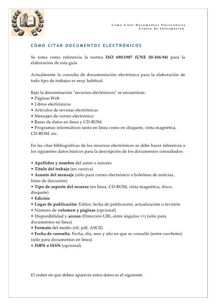 Como Citar Documentos Electrónicos                                                        Centro de Información     CÓMO C...