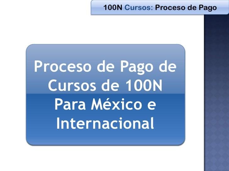 100N Cursos: Proceso de PagoProceso de Pago de  Cursos de 100N   Para México e   Internacional