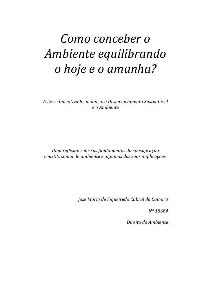 Como conceber oAmbiente equilibrando o hoje e o amanha?A Livre Iniciativa Económica, o Desenvolvimento Sustentável        ...