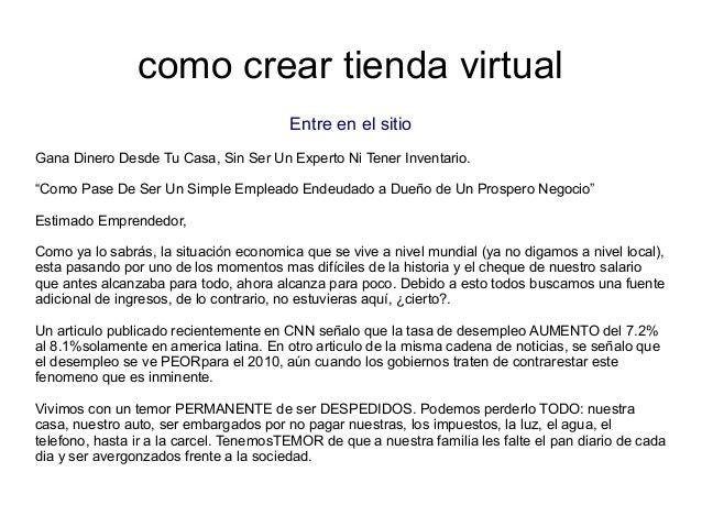 """como crear tienda virtualEntre en el sitioGana Dinero Desde Tu Casa, Sin Ser Un Experto Ni Tener Inventario.""""Como Pase De ..."""