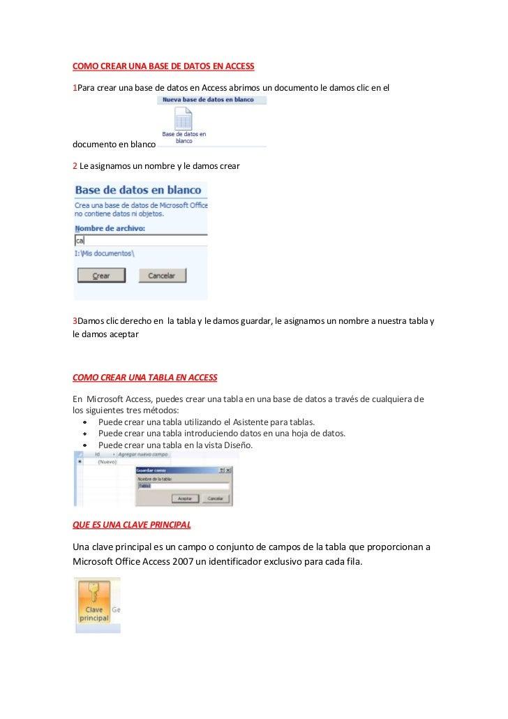 COMO CREAR UNA BASE DE DATOS EN ACCESS1Para crear una base de datos en Access abrimos un documento le damos clic en eldocu...