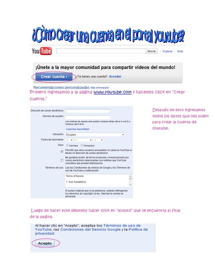 """Primero ingresamos a la página www.youtube.com y hacemos click en """"crearcuenta.""""                                          ..."""