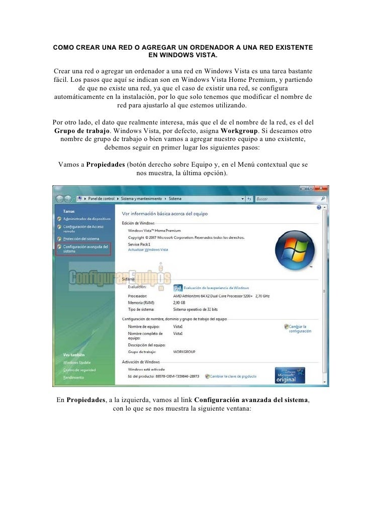 COMO CREAR UNA RED O AGREGAR UN ORDENADOR A UNA RED EXISTENTE                       EN WINDOWS VISTA.  Crear una red o agr...