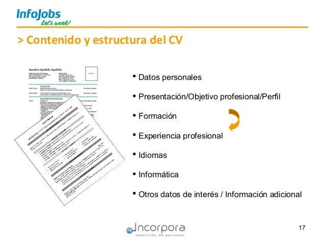 17 > Contenido y estructura del CV  Datos personales  Presentación/Objetivo profesional/Perfil  Formación  Experiencia...