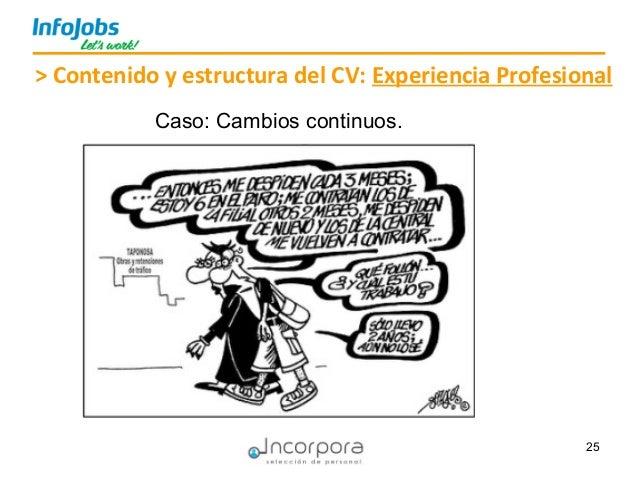 25 > Contenido y estructura del CV: Experiencia Profesional Caso: Cambios continuos.