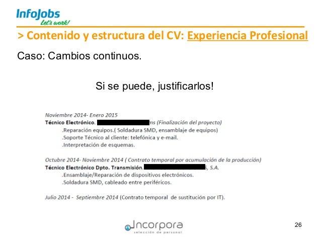 26 Si se puede, justificarlos! > Contenido y estructura del CV: Experiencia Profesional Caso: Cambios continuos.