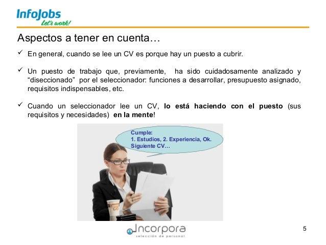 5  En general, cuando se lee un CV es porque hay un puesto a cubrir.  Un puesto de trabajo que, previamente, ha sido cui...