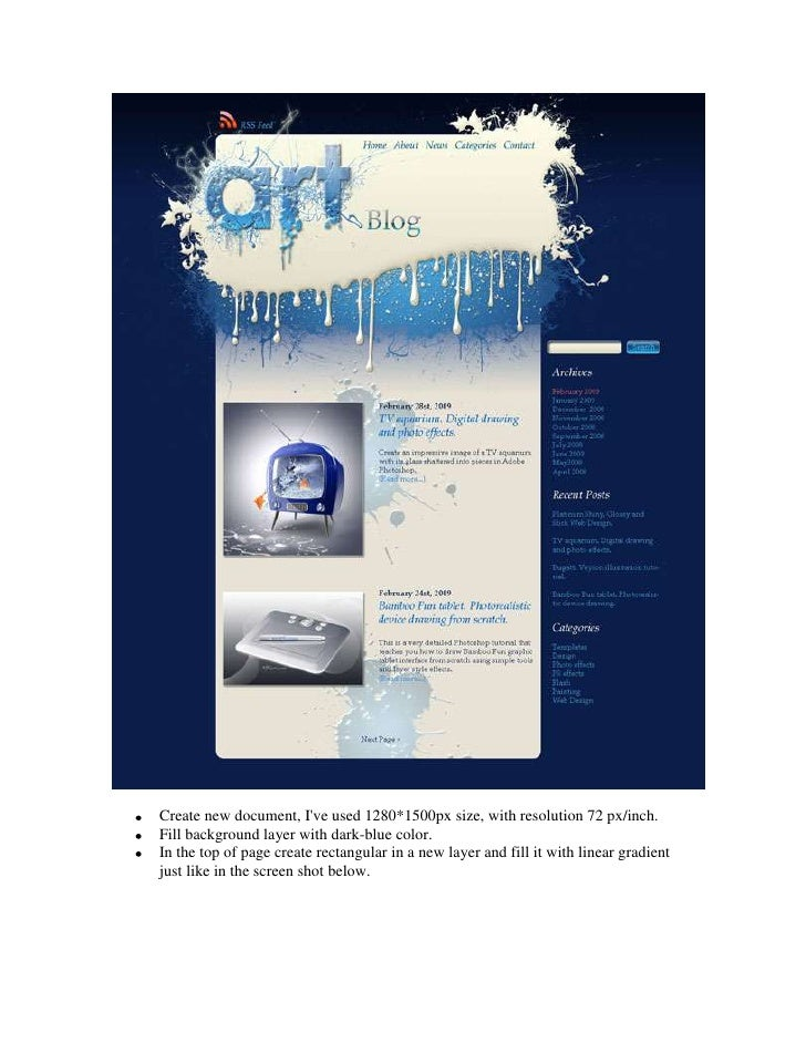 Create new document, I've used 1280*1500px size, with resolution 72 px/inch.<br />Fill background layer with dark-blue col...