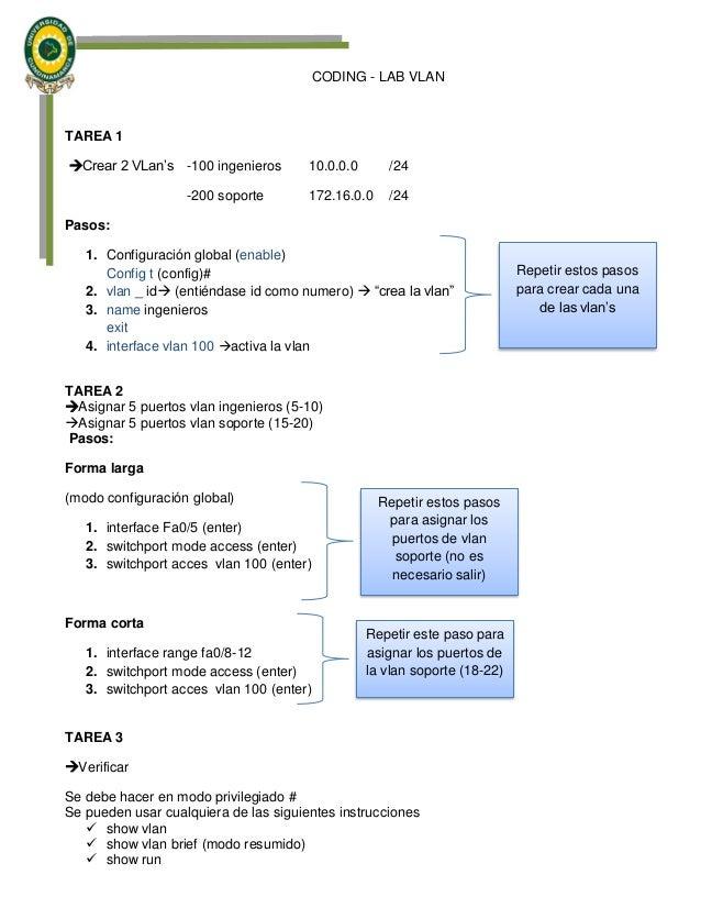 CODING - LAB VLAN TAREA 1 Crear 2 VLan's -100 ingenieros 10.0.0.0 /24 -200 soporte 172.16.0.0 /24 Pasos: 1. Configuración...