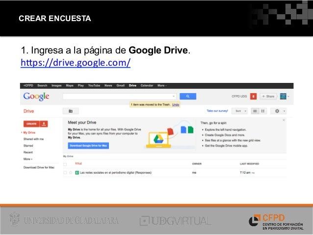 Cómo crear y publicar una encuesta en linea utilizando Google Drive Slide 2
