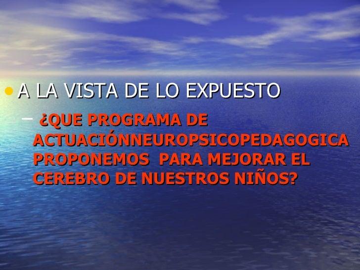 <ul><li>A LA VISTA DE LO EXPUESTO </li></ul><ul><ul><li>¿QUE PROGRAMA DE ACTUACIÓNNEUROPSICOPEDAGOGICA PROPONEMOS  PARA ME...