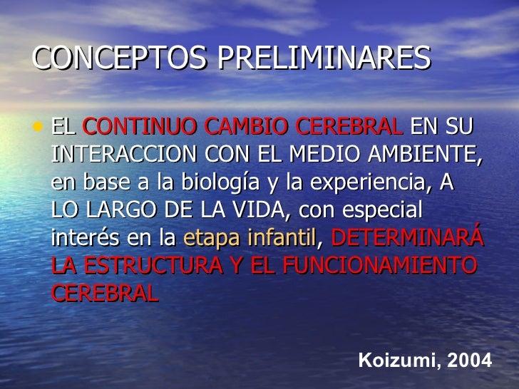 CONCEPTOS PRELIMINARES <ul><li>EL  CONTINUO CAMBIO CEREBRAL  EN SU INTERACCION CON EL MEDIO AMBIENTE, en base a la biologí...