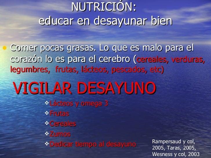NUTRICIÓN:  educar en desayunar bien <ul><li>Comer pocas grasas. Lo que es malo para el corazón lo es para el cerebro ( ce...