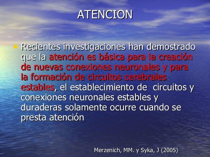 ATENCION <ul><li>Recientes investigaciones han demostrado que la  atención es básica para la creación de nuevas conexiones...