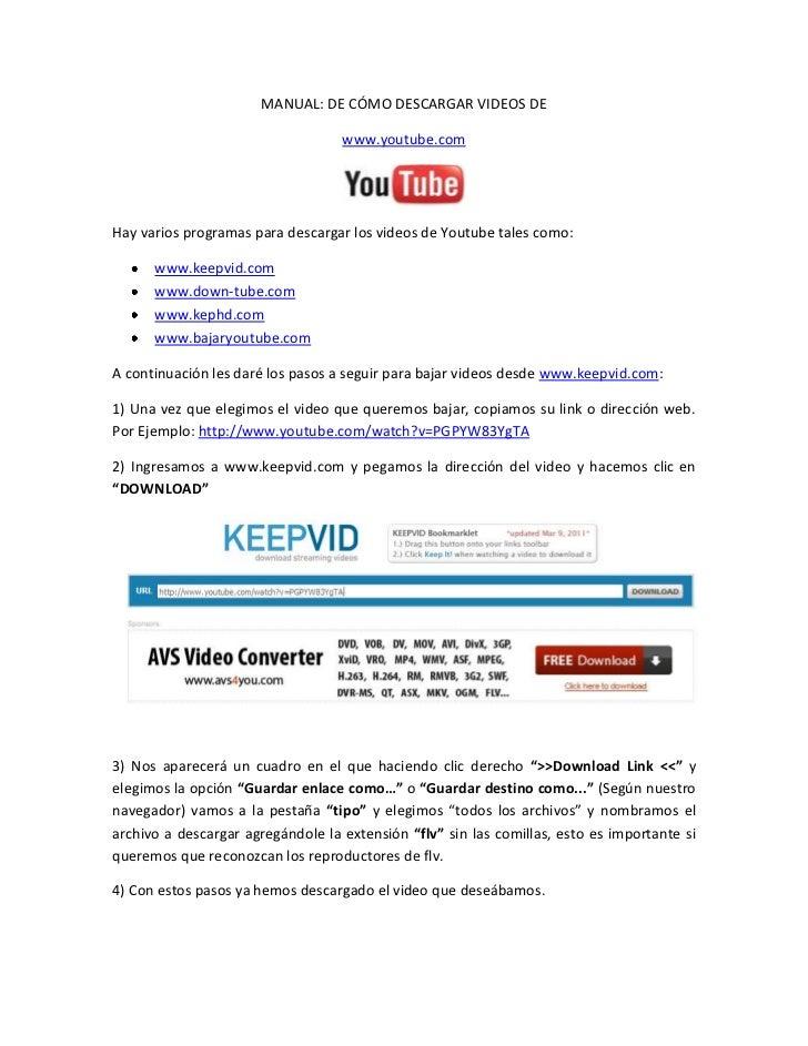 MANUAL: DE CÓMO DESCARGAR VIDEOS DE<br />www.youtube.com<br />Hay varios programas para descargar los videos de Youtube ta...