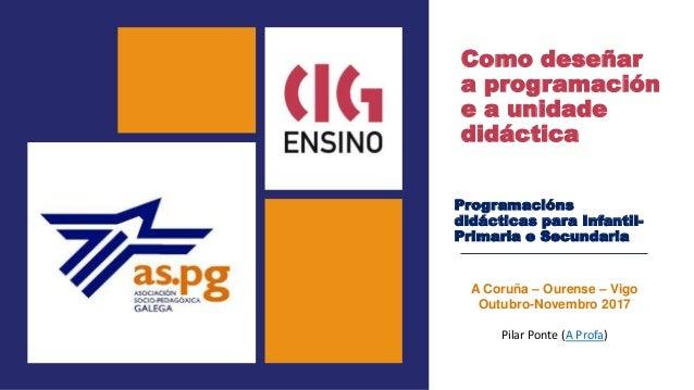Como deseñar a programación e a unidade didáctica Programacións didácticas para Infantil- Primaria e Secundaria A Coruña –...