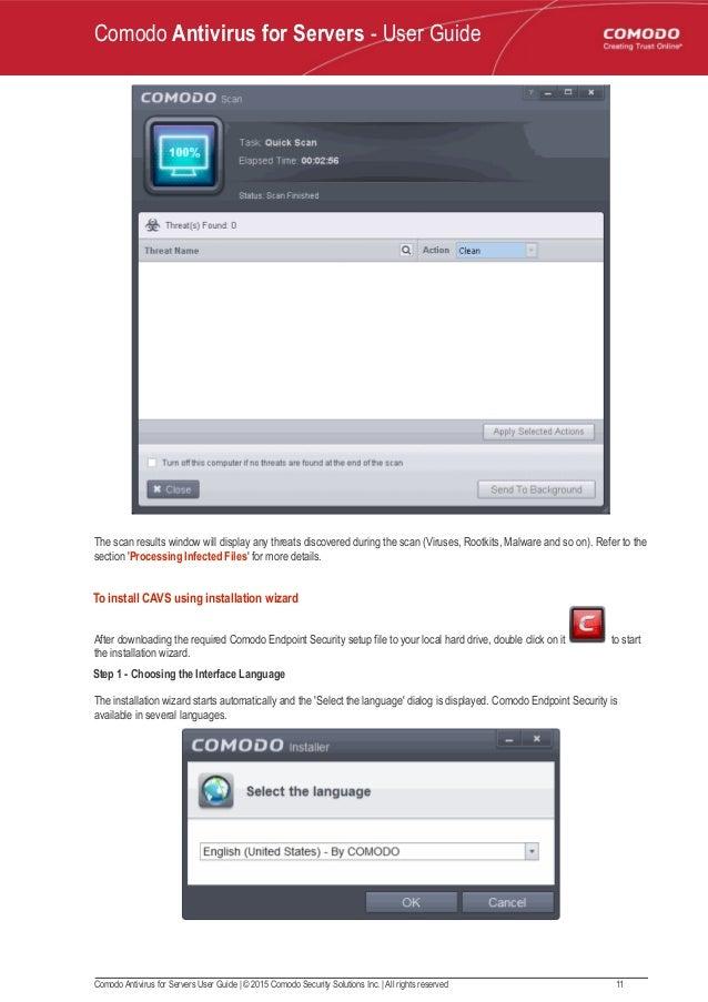 Comodo antivirus for servers - User Guide
