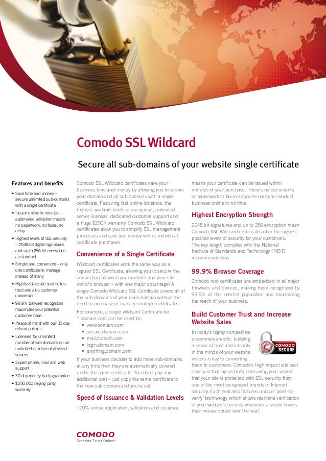 Comodo SSL Wildacard Certificate