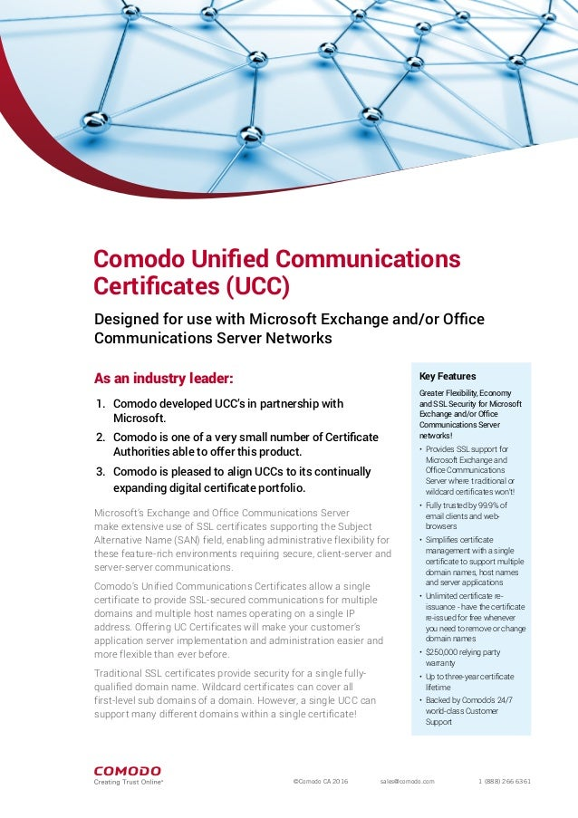 Comodo UCC SSL - Unified Communications SSL Certificate for Website S…