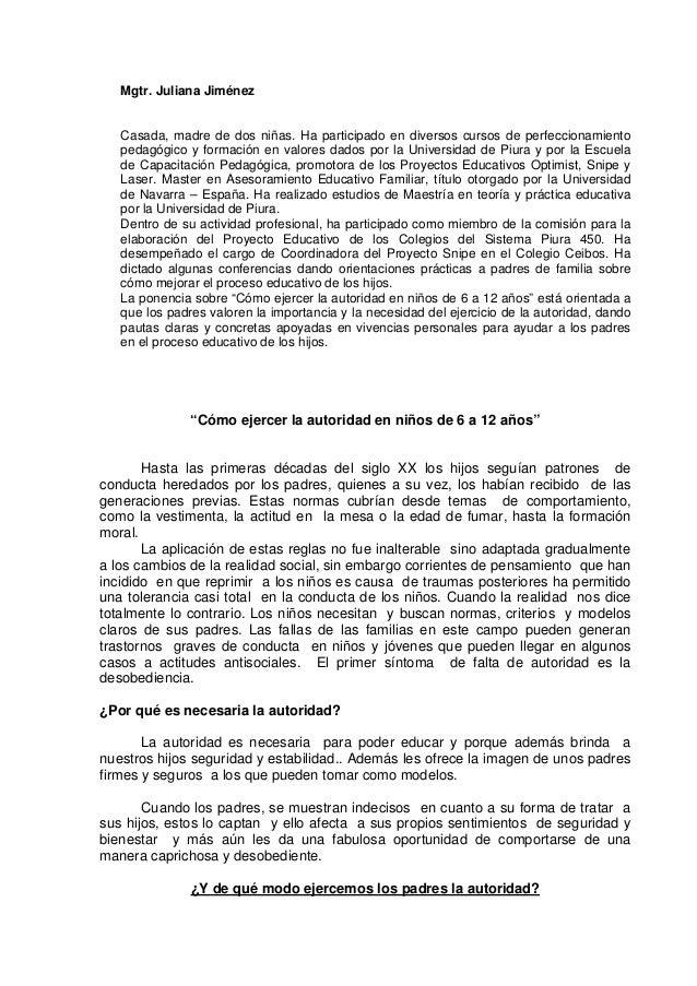 Mgtr. Juliana Jiménez  Casada, madre de dos niñas. Ha participado en diversos cursos de perfeccionamiento pedagógico y for...