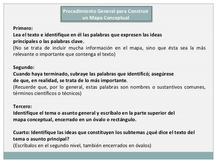 Primero:  Lea el texto e identifique en él las palabras que expresen las ideas  principales o las palabras clave.  (No se ...