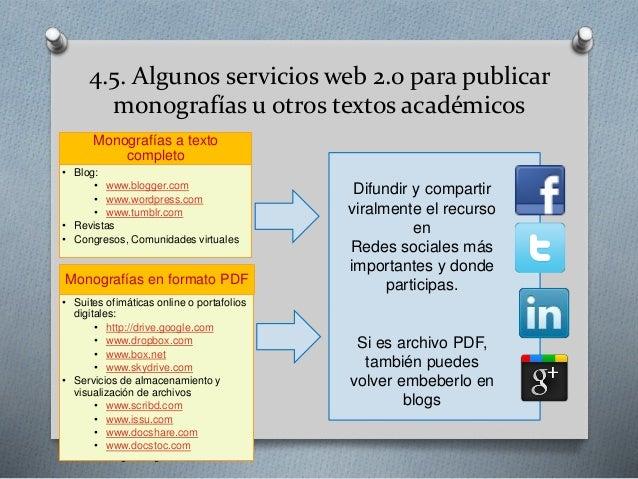 4.5. Algunos servicios web 2.0 para publicar monografías u otros textos académicos Gerardo Chunga Chinguel - USAT • Blog: ...