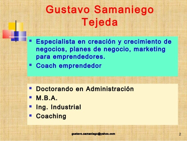 COMO ELABORAR UN PLAN DE NEGOCIO Slide 2